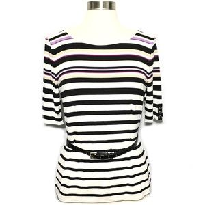 NWT White House Black Market Striped Belted Top